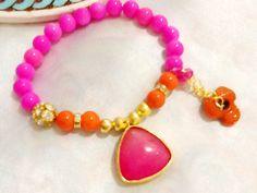Pink jade pendant bracelet , 22k gold plated jade charmed bracelet ,Bollywood bracelet , gypsy bracelet ,bohemian bracelet , indie bracelet by Nezihe1 on Etsy