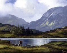 Cattle in Inagh Valley by Eileen Meagher Irish Art, Connemara, Belfast, Contemporary Paintings, Cattle, Dublin, Ireland, Art Gallery, Sculpture