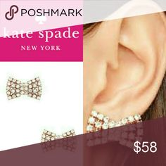🆕Listing! Kate Spade Glitzy Bow Earrings Beautiful rose gold and clear stones. Brand new in package.  💞Thanks for browsing my closet!💞 kate spade Jewelry Earrings