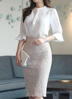 Full lace knee-length pencil skirt in 2020 office fashion women. Classy Work Outfits, Office Outfits Women, Office Fashion Women, Classy Dress, Work Fashion, Fashion Outfits, Women's Fashion, Fashion Ideas, Fashion 2020