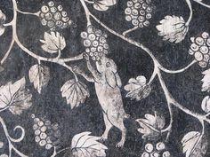 Pintura Mural. Convento Agustino de la Transfiguración y la Iglesia del Divino Salvador. Malinalco, México. Detalle de especies vegetales y animales
