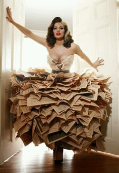 Dress made out of book pages and newspaper articles