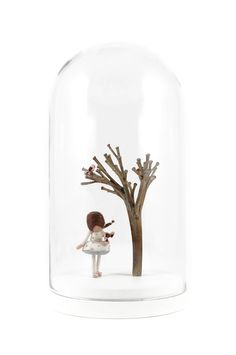 The sweetest Dorimu story came true. The glass dome with a matte white base holds an exclusive Dorimu Fairy in a silk dress with hand embroidered dusty pink roses. In her hand and on the tree s. Glass Domes, Dusty Pink, Handmade Art, Pink Roses, Snow Globes, Fairy, Bloom, Miniatures, Silk Dress