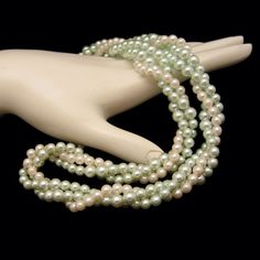 Mid Century Green White Faux Pearls Torsade Vintage Necklace 3 Multi Strand Very Elegant #MyClassicJewelry