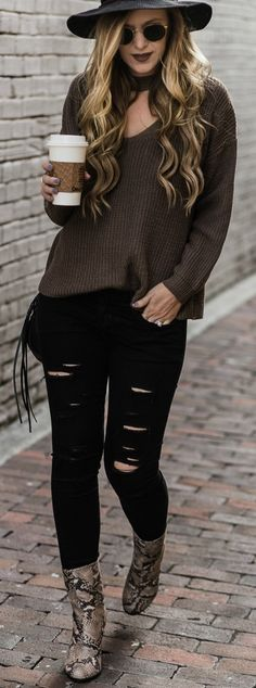 How to style ripped black jeans with choker sweater, snakeskin booties, and black hat. Casual weekend outfit