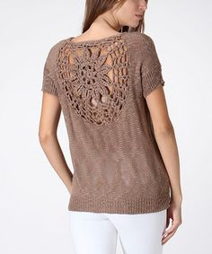 Look what I found on #zulily! Brown Sunflower Crochet-Back Knit Tee by Trendology #zulilyfinds