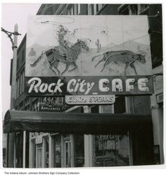 The Johnson Brothers Sign Company made this neon sign of a cowboy roping a steer for the Rock City Cafe at 25 E. Market Street in Wabash. The restaurant is still in business, but the sign is long gone.