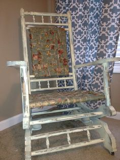 Custom Shabby Chic Antique Double Spring Rocking Chair for girls nursery or the perfect gift.  by Reincarnation LLC on Etsy $200.00  #etsy