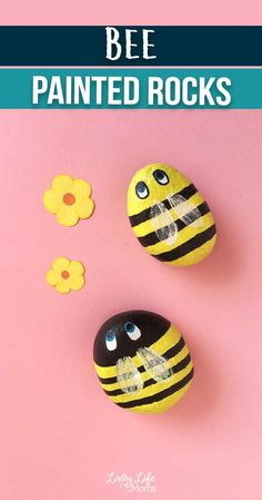 These buzzing bee painted rocks are bright, colorful and cheerful. Celebrate spring with this fun easy craft, perfect for all ages! If you have a bug lover, they'll love painting their own rocks. Pebble Painting, Love Painting, Painting For Kids, Pebble Art, Art For Kids, Fun Easy Crafts, Bug Crafts, Rock Crafts, Easy Diy