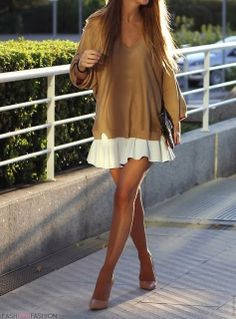 Throw a cute sweater over a flirty summer dress and there ya go ~ fall ready!