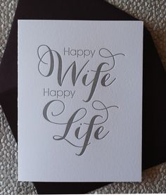 Happy Wife, Happy Life - wedding, love, anniversary card. $5.25, via Etsy.