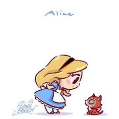 Chibi Alice- Alice in Wonderland, 1951 Kawaii Disney, Chibi Disney, Disney And Dreamworks, Baby Disney, Disney Pixar, Disney Characters, Disney Films, Disney Villains, Kawaii Anime
