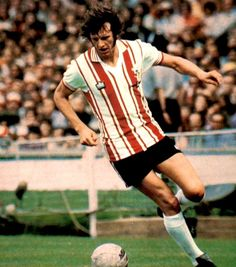Mick Channon of Southampton in Retro Football, Football Shirts, Southampton Football, English Football League, Club, Soccer, Sports, 1970s, Foot Prints
