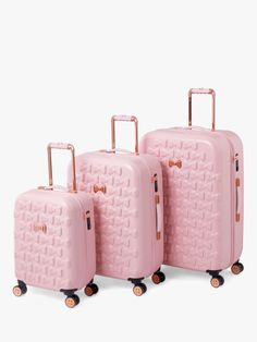 Take off in feminine style with the Moulded Beau suitcase from Ted Baker. Adorned with moulded bows, this suitcase features bespoke Ted Baker hardware in a rose gold finish and four smooth rolling spi Cute Luggage, Travel Luggage, Luggage Sets, Pink Suitcase, Cute Suitcases, Trolley Case, Ted Baker Bag, Dior, Vintage Design