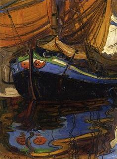 Sailing Boat with Reflection in the Water - Egon Schiele Egon Schiele ♦️More Pins Like This At FOSTERGINGER @ Pinterest♦️