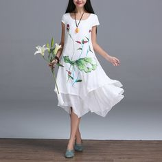 Cotton Dresses 2016 Summer Style New Fashion Women Clothing Print Irregular Sweet Dress Plus Size Elegant Casual Dresses Female ** You can get additional details at the image link.