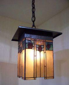 Arts & Crafts Style Copper & Art Glass Pendant Light Fixture