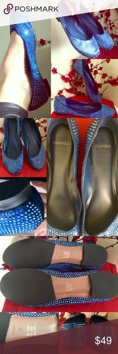 Kurt Geiger Carvela 🇬🇧 Crystal Blue Ballet Flats Carvela KURT GEIGER 🇬🇧'Lenka' Electric Deep Blue Crystallized Satin Ballet Pumps💙Impossible to find, completely sold out! Worn a couple of times inside my home only. Had extra strong soles added so these beauties will last ages! Overall EUC coz hardly worn except for where some crystals have come away-see pics, sold as-is...easily replaceable (buy matching crystals@your local bead haberdashery). LIkely Swarovski crystals coz super…