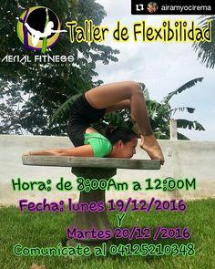 #Repost @airamyocirema with @repostapp  Anímate @aerialfitnessbqto no te trae solo 1 sino 2 talleres de flexibilidad comunícate al 04125210348 y aparte tu día entre el 19 o el 20 de diciembre de 8am hasta las 12m.  Disponible solo para 10 personas por día.  Ven y desarrolla tu #Fuerza #Resistencia y #Flexibilidad con nosotros.  #TelasAcrobaticas #AcrobaciasAereas #DanzaAerea #Lyra #AerialFitnessBqto #AerialSilks #AeriaList #Resistencia #Flexibilidad #Constancia #Entrenamientos #NadaDeNoPuedo…