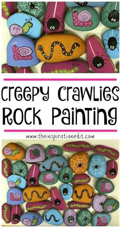 Creepy Crawlies 50 Shades Of Rock Painting · The Inspiration Edit Butterfly Rock Stone. Butterfly Art Butterfly craft for kids for outdoors. nature and outdoors painting idea. Butterfly Crafts, Butterfly Art, Easy Art Projects, Projects For Kids, Rock Crafts, Arts And Crafts, Rock Painting Ideas Easy, Rock Painting For Kids, Painting Art