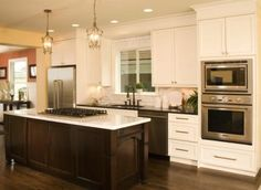 Reverse the cabinets and island- dark stained cabinets and painted island Google Image Result for http://www.factorybuilderstores.com/images/products/large/bellmont_society_cabinets.jpg