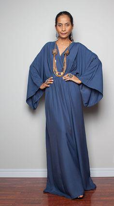 Kimono Maxi Dress  Women Kaftan Maxi Dress  Boho Kimono by Nuichan, $75.00