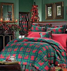 Christmas Bedding Sets | Christmas Holly Holiday - Bedding Comforter Set - Full-Double Size