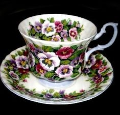 Royal Albert China Series - Fragrance Series - Viola For my mother! Royal Albert, Cuppa Tea, Vintage Dishes, Vintage Teacups, China Tea Cups, Teapots And Cups, Tea Service, My Cup Of Tea, Tea Cup Saucer