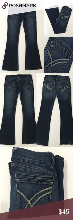 """[William Rast] women's flare denim jeans sz29 [William Rast] women's flare denim jeans sz29•listing •good pre-owned condition •medium dark wash denim •flare leg style, width bottom pant leg 10.5"""" •4 pockets, zipper fly •length/inseam 33"""" (reference- model 5'6"""") •material 98% cotton 2% spandex •some wear on bottoms shown in photo •offers welcomed using the offer feature or bundle for the best discount•• William Rast Jeans Flare & Wide Leg"""