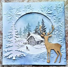 B& Crafting Addiction: Midwinter - Christmas Card Crafts, Homemade Christmas Cards, Christmas Cards To Make, Homemade Cards, Xmas Cards Handmade, Beautiful Christmas Cards, Embossed Cards, Marianne Design, Winter Cards