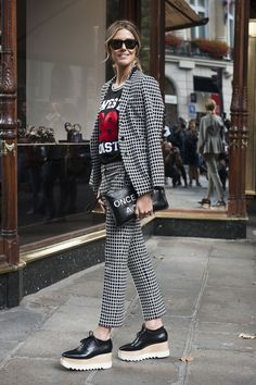 This gingham blazer and trouser combo is stunning but nothing compares to the platform oxford shoes to complete the look!