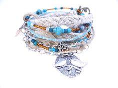 Multi Strand Triple Wrap Suede Bracelet with Beads & Chain. Braided Ribbon, Lovebird Charm, Boho Bracelet, Turquoise Stones, Heart Charm