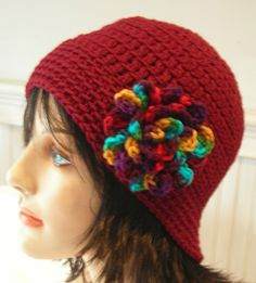 Cloche Beanie Crochet Burgundy Hat with Attached by Hookedonyarnct, $19.00
