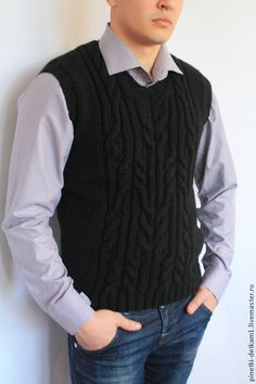 Купить Жилет мужской вязаный. С косичкой - чёрный, рисунок, жилет, мужской, вязаный Knitting Patterns Boys, Knitting For Kids, Baby Knitting, Knit Vest Pattern, Dresses Kids Girl, Lana, Sleeveless Sweaters, Men Sweater, Mens Fashion