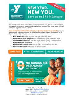 YMCA January Membership Campaign – Email – Program Participants