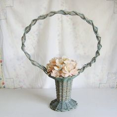 Vintage green wicker funeral/wedding flower basket by trendybindi, $40.00 #shabby #romantic #decor