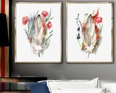 Feather Watercolor Painting Set 2, Feather Art Print, Watercolor Floral Idea, Abstract Minimalist Illustration, Abstract Flower Painting