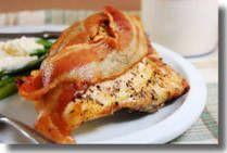 BACON ROASTED CHICKEN BREAST:   (Bone-in chicken breast, bacon, seasoning.  Bake 375 degrees for 45 mins.)