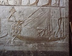 An example of the use of a bipod mast with rigging and sail, taken from the fifth dynasty tomb of Nefer at Saqqara.