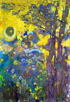 Art Background, Yellow Background, Odilon Redon, Collage Art Mixed Media, Classic Paintings, Painting Gallery, Illustrations, Classical Art, French Art