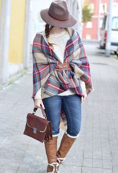 Add a stylish wrap like this tartan plaid shawl to make the chill disappear. It comes in warm tones to help create a warm, homely look to your outfit. Cape Scarf, Tartan Scarf, Plaid Blanket Scarf, Poncho Scarf, Red Blanket, Blanket Coat, Scarf Belt, Scarf Wrap, How To Wear A Blanket Scarf