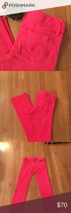 """LILLY PULITZER Worth Straight Jeans Awesome Lilly Pulitzer Worth straight leg jeans. In great pre owned condition. Size 2. 32"""" inseam. A gorgeous red/pink/coral color. Signature """"L"""" on back pockets. Lilly Pulitzer Jeans Straight Leg"""