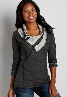 pullover sweatshirt with cowl neck and zipper | maurices