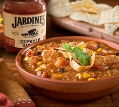 Looking for a new way to use leftover chicken? Grab your favorite Jardines salsa from shopteasdale.com and a few spices you probably already have in the pantry and whip up this Banders Chicken Salsa Soup! Salsa Soup Recipe, Soup Recipes, Canned Chicken, How To Cook Chicken, Black Bean Chicken, Canned Black Beans, Frozen Corn, Saturated Fat, Gardens