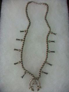 Vintage Sterling Silver Squash Blossom Yei Naja Necklace Navajo
