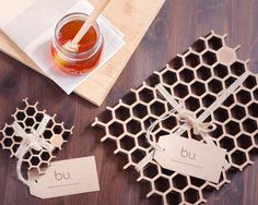 Bamboo Honeycomb Place Mat & Coaster set with by buProducts, $54.99