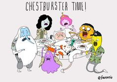 ALIEN + ADVENTURE TIME = CHESTBURSTER TIME!  ALL DVD's FOR SUBSCRIBERS $29.99, check them out HERE: www.stanwinstonschool.com/videos  Art by Franxurio @Franxurio (twitter)