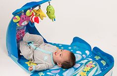Wonder Whale Kicks & Giggles Activity Gym is baby powered! As baby kicks the sea creature toys sway and jingle. Includes water pat mat for more under the sea fun.