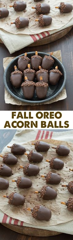 Fall Oreo Acorn Balls.  These are SO adorable! Peanut butter oreo balls made to look like acorns!!