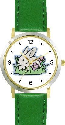 Grey or Gray Rabbit or Bunny in Flowerbed Animal - WATCHBUDDY® DELUXE TWO-TONE THEME WATCH - Arabic Numbers - Green Leather Strap-Size-Children's Size-Small ( Boy's Size & Girl's Size ) WatchBuddy. $49.95